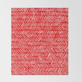 Scarlet Herringbone Lines Throw Blanket