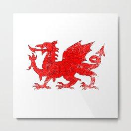 Welsh Dragon With Grunge Metal Print