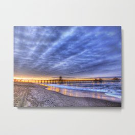 A Heavenly Morning At The Huntington Beach Pier Metal Print