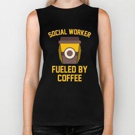 Social Worker Fueled By Coffee Biker Tank