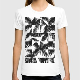 Palm Leaf Pattern Black T-shirt