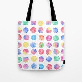 Artistic hand painted pink blue green watercolor brush strokes polka dots Tote Bag