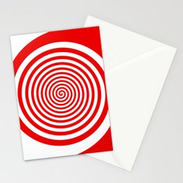 Red and White Spiral Stationery Cards