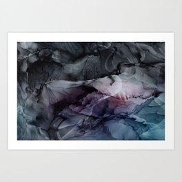 Moody Dark Chaos Inks Abstract Art Print