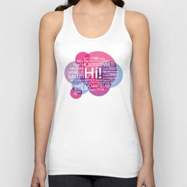 "The words ""Hi"" compound in the form of a bubble talk in the languages of European countries Unisex Tank Top"