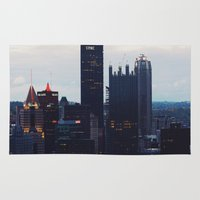 pittsburgh Area & Throw Rugs featuring Pittsburgh Skyline by World_Perspective