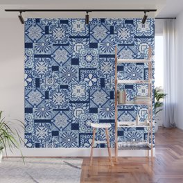 Overlapping blue tile pattern Wall Mural