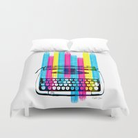 typewriter Duvet Covers featuring Typewriter by Elizabeth Cakovan