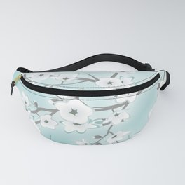 Cherry Blossoms Mint White Fanny Pack