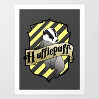 hufflepuff Art Prints featuring Hufflepuff Crest by AriesNamarie