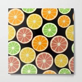 Citrus Fruit Slices, Oranges, Limes, Lemons Metal Print