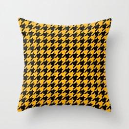 Houndstooth: Black & Gold Checkered Design Throw Pillow