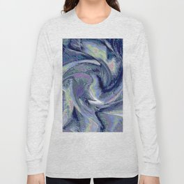 Blue Marble Abstract  Background Long Sleeve T-shirt