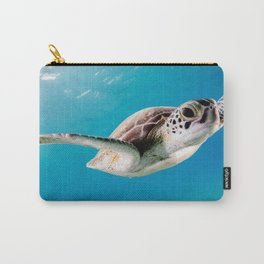 Amazing Lovely Sea Turtle Swimming Close Up HD Carry-All Pouch
