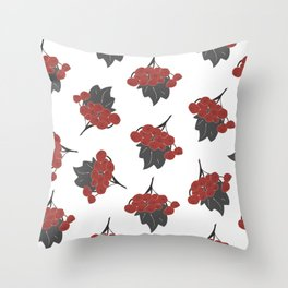 Seamless Pattern Of Rowan Spray, old traditional artistic style Throw Pillow
