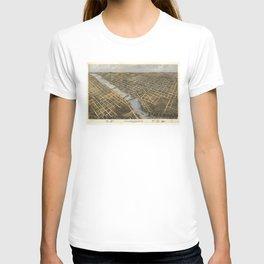 Aerial View of Grand Rapids, Michigan (1868) T-shirt