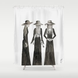 Southern Gothic Witch Coven Watercolor Shower Curtain