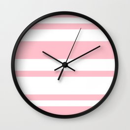 Mixed Horizontal Stripes - White and Pink Wall Clock