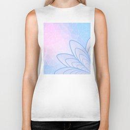 Flower on Pastel Pink and Blue Geometric Pattern Biker Tank