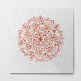 Rust Red Mandala on Japanese Rice Paper Metal Print