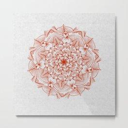 Rust Red Mandala on Japanese Rice Paper Metal Print