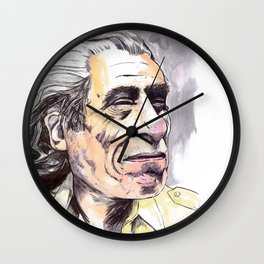 Charles Bukowski portrait in watercolor and ballpoint by McHank Wall Clock