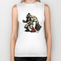 street fighter Biker Tanks featuring Bear Wrestler - Street Fighter by Peter Forsman
