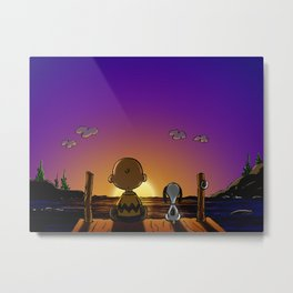 snoopy and charlie sunset Metal Print