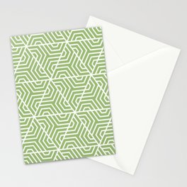 Olivine - green - Geometric Seamless Triangles Pattern Stationery Cards