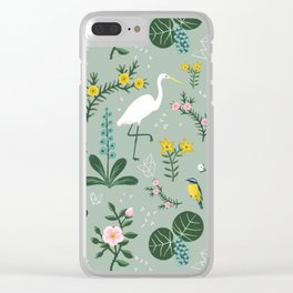 """""""Tropical Birds and Flowers"""" on Sage Green by Bex Morley Clear iPhone Case"""