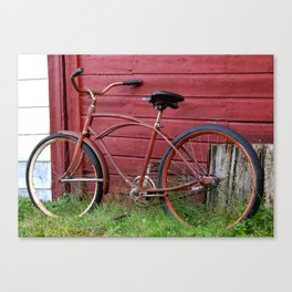 Red Bike on A Red Barn Wall Canvas Print