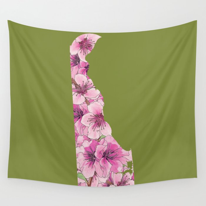 Delaware in Flowers Wall Tapestry