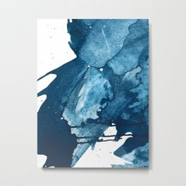 4 am Thoughts [4]: a minimal abstract painting in blue by Alyssa Hamilton Art Metal Print