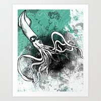 squid Art Prints featuring Squid by Kat Aviles