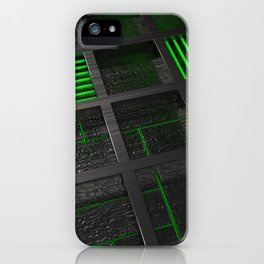 Futuristic industrial brushed metal grate with glowing lines iPhone Case