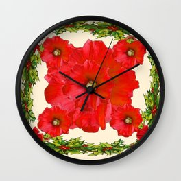 RED FLOWERS & GREEN HOLIDAY FLORAL ART Wall Clock
