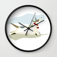 jack russell Wall Clocks featuring Jack the Russell by Rebecca S. Czosnek