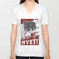 soviet V-neck T-shirts featuring grumpy soviet by tshirtsz