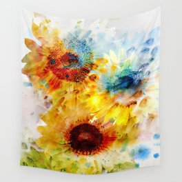 Watercolor Sunflowers Wall Tapestry