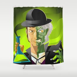 doctor jekyll and mister hyde monster tranformation with green potion Shower Curtain