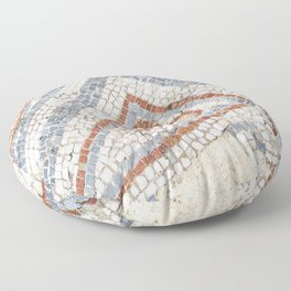 Mosaic Heart | Cute Red Blue and White Tile Old World Charming Decorative Cool Stone Photograph Floor Pillow