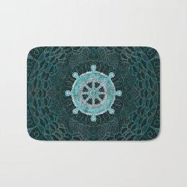 Dharma Wheel - Dharmachakra Silver and turquoise Bath Mat
