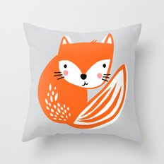 Fox Print by Tasha Johnson Throw Pillow