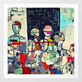 Crowds / abstract - colourful Art Print
