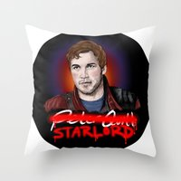 starlord Throw Pillows featuring Peter Quill - StarLord by xKxDx