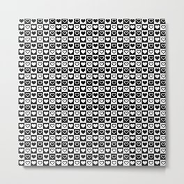 Black And White Hearts in Checkerboard Repeating Pattern Metal Print