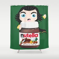 nutella Shower Curtains featuring Loki Loves Nutella? by Lily