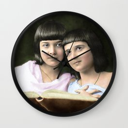 The Beautiful Sisters From The Early 1900s. Restored And Colorized. Wall Clock