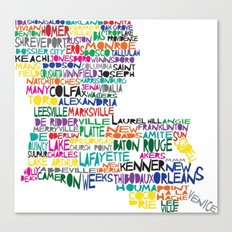 Louisiana Typography Canvas Print