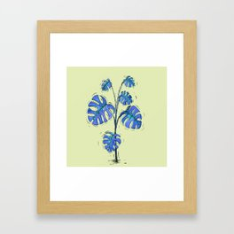 Monstera deliciosa blue version Framed Art Print